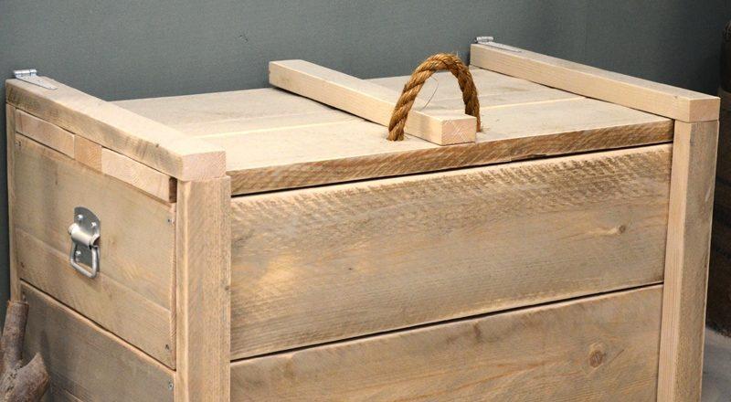 Steigerhouten speelgoedkist van Sanders Woodworks