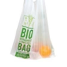 Duurzaam shoppenmet composteerbare hemddraagtassen.